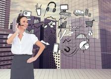 Rozochocony mądrze centrum telefoniczne agenta działanie Zdjęcia Stock