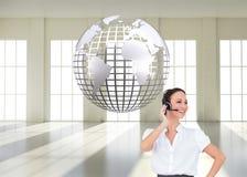Rozochocony mądrze centrum telefoniczne agenta działanie Zdjęcie Royalty Free