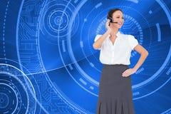 Rozochocony mądrze centrum telefoniczne agenta działanie Obrazy Stock