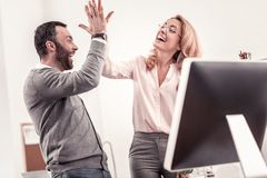 Rozochocony mężczyzna i kobieta daje each inny wysocy pięć zdjęcia royalty free