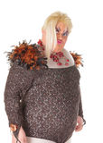 Rozochocony mężczyzna, włóczydło królowa w Żeńskim kostiumu, Fotografia Stock