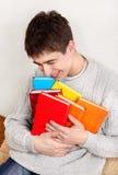 Rozochocony nastolatek z książki Zdjęcie Stock