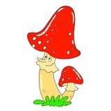 Rozochocony pieczarkowy muchomor Wektoru Pieczarkowy charakter Obraz Royalty Free