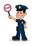 Rozochocony policjant trzyma szyldową przerwę ilustracji