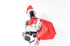 Rozochocony robot świętuje boże narodzenia Fotografia Stock
