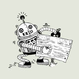Rozochocony robot z deską dla informacji o a Zdjęcie Stock