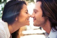 Rozochocony romantyczny pary całowanie Zdjęcie Stock