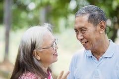 Rozochocony stary pary gawędzenie w parku fotografia royalty free