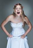 rozochocony sukni modela biel Fotografia Stock