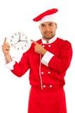 Rozochocony szef kuchni z zegarem Obraz Stock