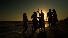 Rozochocony tłumu taniec na plaży Skaczą w słońcu Ludzie mają zabawę Są szczęśliwi 3 d odizolowane przedmiot sylwetek ludzi zbiory