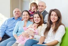 Rozochocony trzy pokolenia rodzinnego Zdjęcia Stock