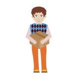 Rozochocony uśmiechnięty kreskówka doręczeniowego mężczyzna charakter niesie bu ilustracja wektor
