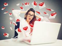 Rozpacz i stres dla spama emaila Fotografia Stock