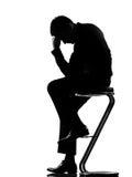 rozpacza zmęczenia mężczyzna sylwetka męcząca zdjęcie stock