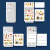 Rozpieczętowana chłodziarka z jedzeniem w mieszkanie stylu Obrazy Royalty Free
