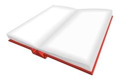 Rozpieczętowana czerwieni książka z pustymi listami ilustracji