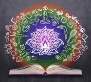 Rozpieczętowana książka z joga nakreśleniami Obraz Royalty Free