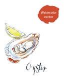 Rozpieczętowana ostryga z cytryną royalty ilustracja