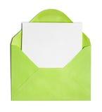 Rozpieczętowana zielona koperta lub pokrywa zdjęcia stock