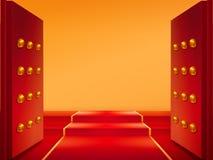 Rozpieczętowane bramy z złotem i czerwonym chodnikiem na schodkach ilustracji