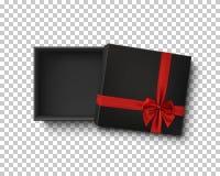 Rozpieczętowanego czerni prezenta pusty pudełko z czerwonym faborkiem Zdjęcia Royalty Free