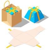 Rozpieczętowani i zamknięci teraźniejsi prezentów pudełka z tasiemkowym łękiem royalty ilustracja
