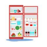 Rozpieczętowany łamający fridge z wodą na podłoga Dzwonić mistrza royalty ilustracja