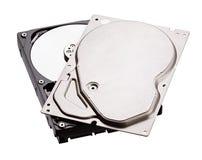 Rozpieczętowany dysk twardy HDD odizolowywający na białym tle zdjęcie stock