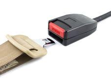 Rozpieczętowany pas bezpieczeństwa na białym tle Fotografia Stock