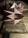 Rozpieczętowany przyglądający photoalbum z zieleni bronse i pokrywy przepięciami, boczny widok Zdjęcia Stock