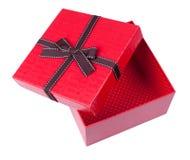 Rozpieczętowany pusty czerwony prezenta pudełko Obraz Royalty Free