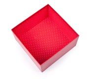 Rozpieczętowany pusty czerwony prezenta pudełko Zdjęcia Royalty Free