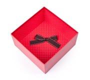 Rozpieczętowany pusty czerwony prezenta pudełko Obraz Stock