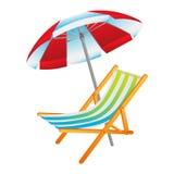 Rozpieczętowany słońce parasol i deckchair ilustracji