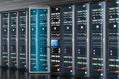 Rozpieczętowany serweru stojak z konsolą w serweru pokoju świadczenia 3 d Obraz Stock