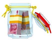 Rozpieczętowany szklany słój z plikami Chińscy banknoty Juan Zdjęcia Stock