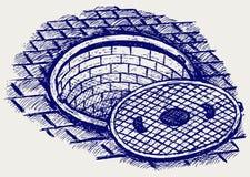 Rozpieczętowany Uliczny Manhole Zdjęcia Royalty Free