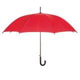 Rozpieczętowany czerwony parasol nad bielem Obraz Stock