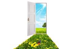 rozpieczętowany drzwi biel Fotografia Royalty Free