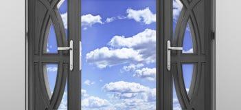 Rozpieczętowany drzwi pod niebieskim niebem Obraz Stock