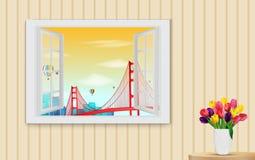 Rozpieczętowany drewniany okno i widok na Golden gate bridge Obrazy Stock