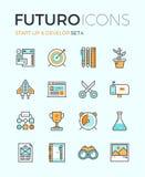 Rozpoczęcie rozwija futuro kreskowe ikony ilustracja wektor