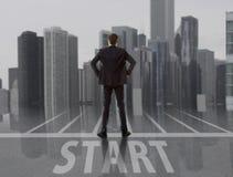 rozpoczęcie Biznesmen patrzeje miasto Zdjęcie Stock