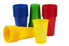 Rozporządzalne plastikowe filiżanki Zdjęcia Stock