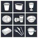 Rozporządzalne tableware ikony ilustracja wektor