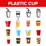 Rozporządzalnej Plastikowej filiżanki Liniowe Wektorowe ikony Ustawiać royalty ilustracja