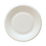 Rozporządzalny papierowy talerz odizolowywający na bielu zdjęcie royalty free