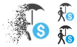Rozpraszający Kropkowanego Halftone Chodzący bankowiec Z Parasolową ikoną royalty ilustracja