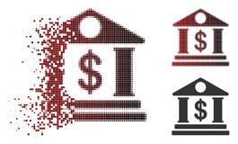 Rozpraszająca piksla Halftone American Bank budynku ikona ilustracji